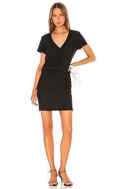 Short Sleeve V Neck Blouson Dress James Perse $225