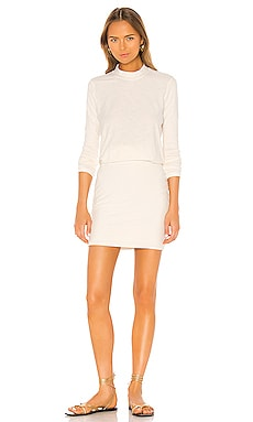 Rib Sleeve Blouson Dress James Perse $141