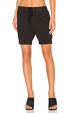 Cotton Fleece Short in Black
