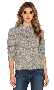 James Perse Stand Up Collar Sweater in Grey Melange