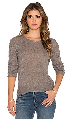 James Perse Cashmere Crew Neck Sweater in Taupe Melange