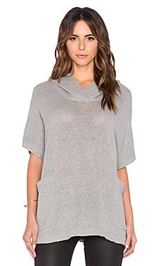 James Perse Knit Mesh Hooded Pullover in Heather Grey