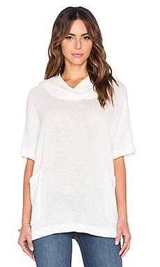 James Perse Knit Mesh Hooded Pullover in White
