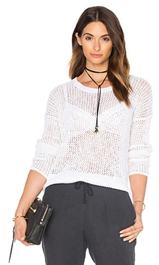James Perse Open Stitch Cotton Crew Neck Sweater in White