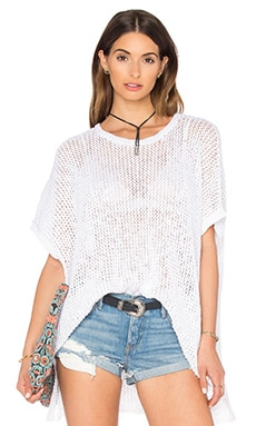 Open Stitch Poncho Top in White