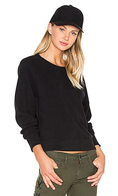 Fleece Dolman Raglan Pullover in Black
