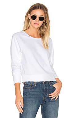 Fleece Dolman Raglan Pullover in White