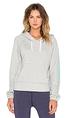 James Perse Yosemite Raglan Pullover Hoodie in Heather Grey & Bondi
