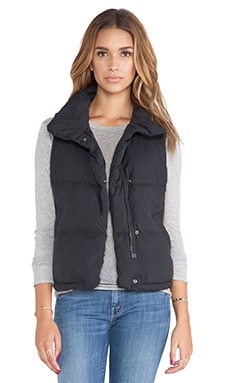 Down Filled Funnel Neck Vest in Black