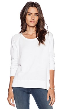 James Perse Classic Long Sleeve Raglan Sweatshirt in White