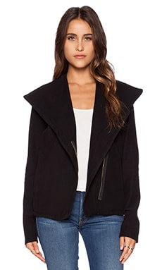 James Perse Knit Twill Moto Jacket in Black