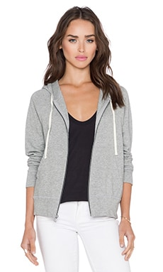 James Perse Classic Zip Up Hoodie in Heather Grey