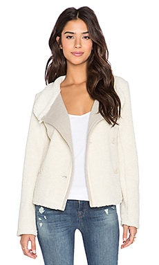 James Perse Shrunken Sherpa Jacket in Ivory