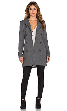 James Perse Double Breasted Hoodie Coat en Charcoal