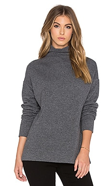 James Perse Ribbed Funnel Neck Sweatshirt in Heather Charcoal