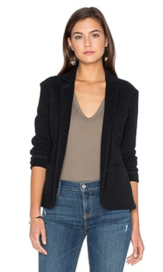 Cropped French Terry Blazer in Black
