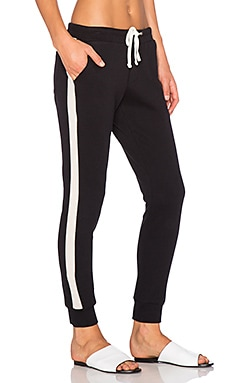 James Perse Contrast Stripe Jogger Pant in Black