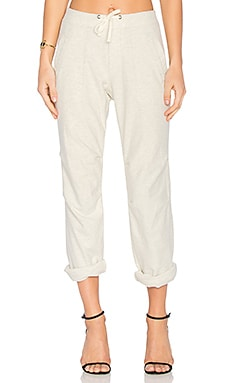 Heathered Knit Twill Pant in Heather Natural