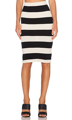 James Perse Bar Stripe Pencil Skirt in Natural & Black