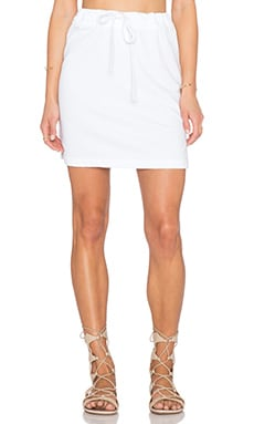 James Perse Drawstring Vintage Cotton Skirt in White