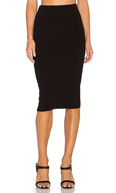 James Perse Heavy Rib Skinny Skirt in Black