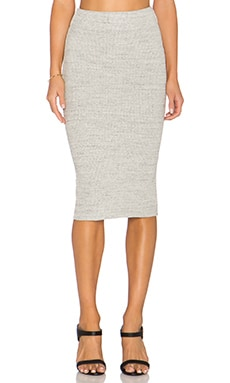 James Perse Heavy Rib Skinny Skirt in Heather Grey