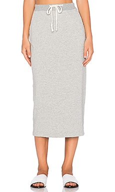 James Perse Fleece Pencil Skirt in Heather Grey