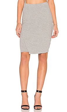 James Perse Tuck Wrap Skirt in Heather Grey
