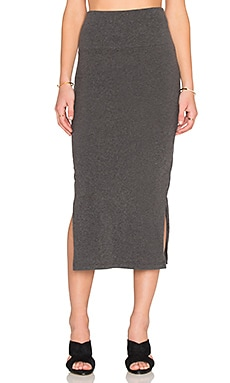 James Perse Double Split Skirt in Heather Charcoal