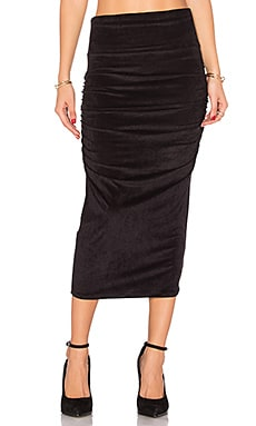 Velvet Midi Skirt in Black