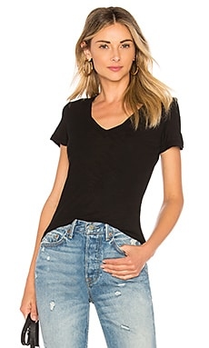 Casual V Neck Tee with Reverse Binding in Black