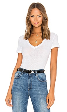 Casual V Neck Tee with Reverse Binding in White