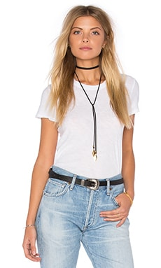 Sheer Slub Crew Neck Tee in White