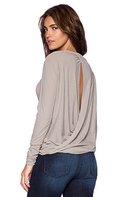 James Perse Drape Back Long Sleeve Top in Shadow