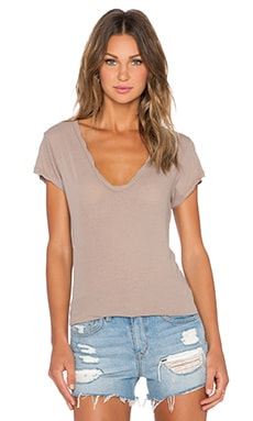 James Perse High Gauge Jersey Deep V Tee in Coyote