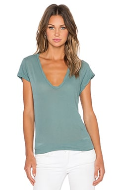 James Perse High Gauge Jersey Deep V Tee in Tropic