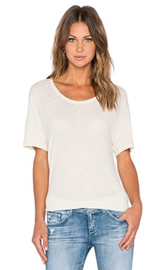 James Perse Split Hem Linen Tee in Ceramic