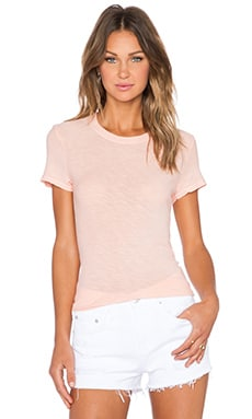 James Perse Sheer Slub Crew Neck Tee in Venus