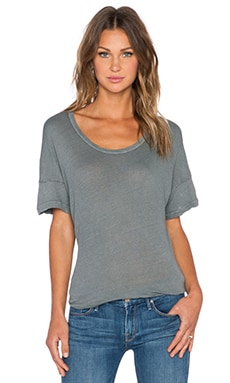 James Perse Split Hem Linen Tee in Cartridge