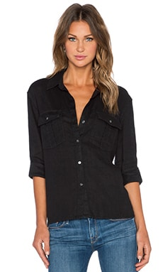 James Perse Linen Pocket Button Up in Black