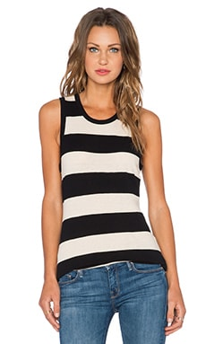 James Perse Inside Out Tomboy Tank in Natural & Black