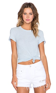 James Perse Sheer Slub Crew Neck Tee in Capri