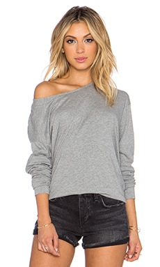 James Perse Geometric Seamed Top in Heather Grey