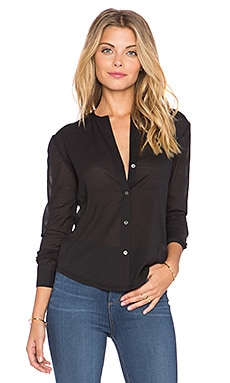 James Perse Slim Collarless Button Up in Black