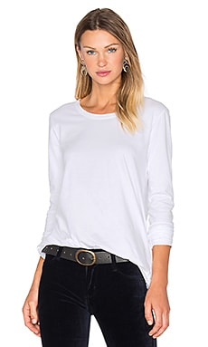 Pleated Back Long Sleeve Top in White
