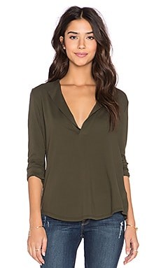 James Perse Open Henley Top in Cypress