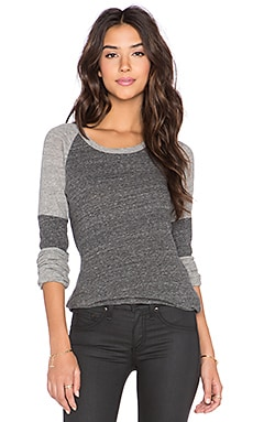 James Perse Colorblock Raglan Top in Heather Charcoal & Heather Grey