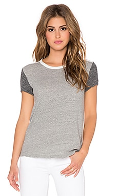 James Perse Colorblock Tee in Heather Grey & White & Heather Charcoal