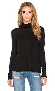 James Perse Split Back Funnel Neck Top in Black