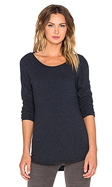 James Perse Brushed Jersey Cowl Back Top in Deep